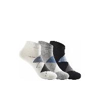 男式菱形格纹船袜黑色/灰色/白色(混色3双装)