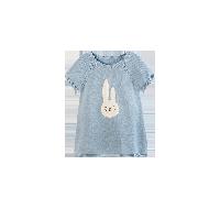 女童图案短袖针织裙 1-8岁蓝色*80cm