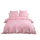 水星家紡 全棉斜紋印花卡通床上四件套 床上用品套件床單被罩 粉兔子 雙人加大1.8米床