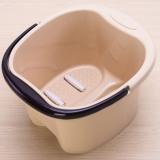青苇 浴室塑料泡脚桶洗脚盆 加厚足浴桶 按摩轮水桶 米色