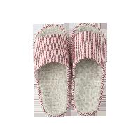 日式竖条纹棉麻春夏拖鞋粉色-女款均码