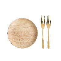橡膠木圓盤【優惠裝-立省9元】中號圓盤+金色水果叉*2
