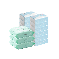 品质家庭清洁礼包乳霜纸巾100抽*12包+手口湿巾80片*6包