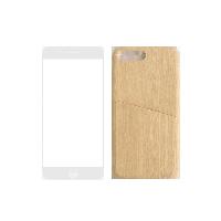 简约木纹手机壳+3D高清手机膜(组合装)iphone7p/8p壳(木色)+膜(白色)