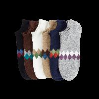 6双 精梳棉提花男船袜黑色、深上青、米色、深咖啡、浅麻灰、本白