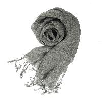 法國亞麻原色圍巾深灰