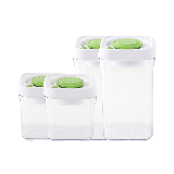 按压式真空储物罐 方形底组合装:0.5L*2+1L*2