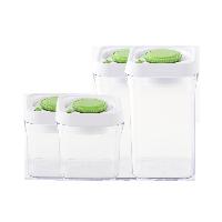 按壓式真空儲物罐 方形底組合裝:0.5L*2+1L*2