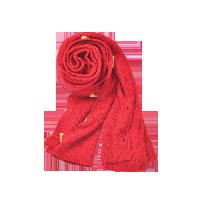 云烟羊绒纽扣披肩红色