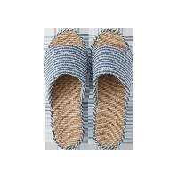 日式条纹亚麻春夏拖鞋天蓝-女款均码