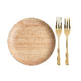 橡胶木圆盘【优惠装-立省10元】大号圆盘+金色水果叉*2