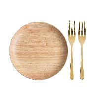橡膠木圓盤【優惠裝-立省10元】大號圓盤+金色水果叉*2