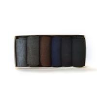松罗口双针休闲男袜(六双入)黑色、深上青、深灰、中灰、深咖啡、漂白