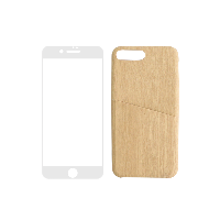 简约木纹手机壳+3D高清手机膜(组合装)iphone7/8壳(木色)+膜(白色