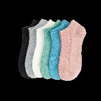 精梳棉双针提花女船袜深麻灰、水蓝、绿色、浅粉红、浅灰、本白
