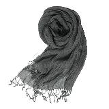 法国亚麻原色围巾黑色