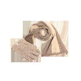 羊绒原色系列两件套装深棕(围巾+手套)