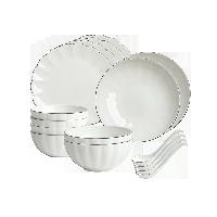 白金线骨瓷餐具16件套16件(饭碗*4+面碗*2+勺子*4+汤盘*2+平盘*4)