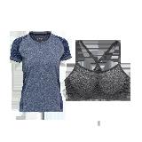 女式基礎運動組合套裝(T恤+內衣)深藍純色+麻灰*M