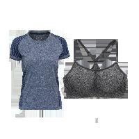 女式基础运动组合套装(T恤+内衣)深蓝纯色+麻灰*M
