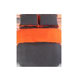 撞色全亞麻四件套1.8m床:適用2.2mx2.4m被芯*橙色