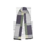 几何拼色绢丝拉绒围巾灰绿