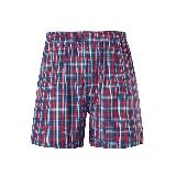 男式梭織棉家居短褲S*紅色中格
