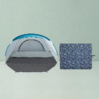 户外露营野餐组合速开帐篷+野餐垫