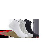 男式干爽运动船袜黑色、白色、灰色(混色三双装)