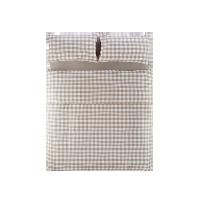 日式全棉格纹四件套 新款1.5m床:适用2mx2.3m被芯*米色大格纹(床单款)