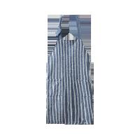 日式纯棉色织条纹围裙薄缥蓝