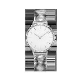女式Classic蓝宝石镜面手表银边白底*银色钢带