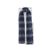 风致格纹羊毛围巾藏蓝