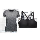 女式基础运动组合套装(T恤+内衣)灰色渐变+黑色*S