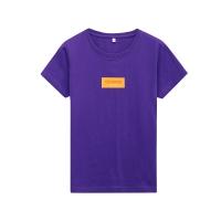 Yessing女式方形撞色LogoT恤深紫罗兰*M(165/88A)