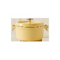 100年傳世琺瑯鍋 馬卡龍系列淺檸黃/有蓋/直火電磁爐通用