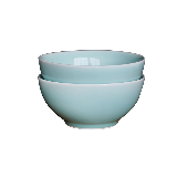 龙泉原矿粉青釉餐具碗盘【2件装】17cm素面深碗