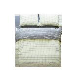 日式純棉色織AB格四件套1.8M/ 2.0M*黃色