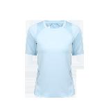 女式露背拼接运动T恤衫粉蓝*S