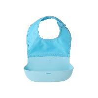 婴童立体可折叠围兜粉蓝