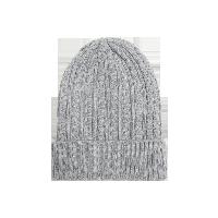 纯色羊绒混纺针织帽子灰色