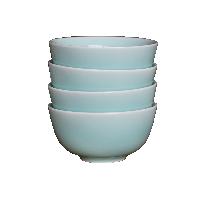 龙泉原矿粉青釉餐具碗盘【4件装】玉青碗