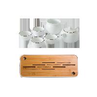 羊脂玉白茶具禮盒6件套【優惠組】羊脂玉白茶組+竹制干泡茶盤