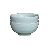 龙泉原矿粉青釉餐具碗盘【2件装】凤羽碗