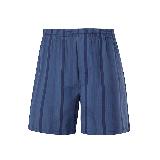 男式梭織棉家居短褲S*藍色條紋