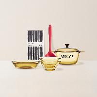 晶彩系列套装组合组合1:1.5L康宁汤锅+2个玻璃饭碗+2个玻璃深盘+6双合金筷+1只硅胶铲勺