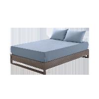 全棉针织素色床笠1.5M床:150*200*28cm*浅波蓝