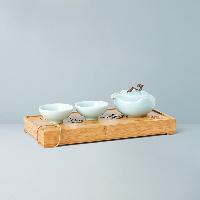 龙泉官窑茶器茶盘4件套1壶2杯1茶盘