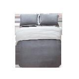 撞色全亞麻四件套1.8m床:適用2.2mx2.4m被芯*灰色