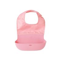 婴童立体可折叠围兜粉红